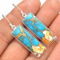 Boho 925 Silver Turquoise Gems Hook Drop Earrings Jewelry Wedding Gift Dangle