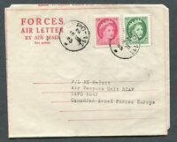 "CANADA MILITARY FORCES AIR LETTER CFPO CANCEL ""111"", CAPO ""5047"" CANCEL"