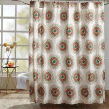 BERMUDA Shower Fabric Curtain Bohemian Medallion Cotton Cottage Chic- VHC Brands
