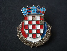 Croatia Army, early checky cap badge, insignia; military, Homeland war, wartime