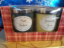 Brand New 2 Piece Scented Candle Gift Set - Fresh Balsam & Cinnamon Spice