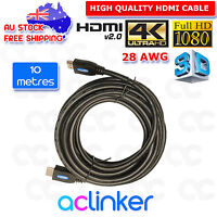 10M 4K Ultra HD Premium HDMI Cable V2.0 Gold Plated 3D High Speed Ethernet 1080P