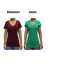 Women Basic Short Sleeve Stretch V NECK Plain Top Solid Color T Shirt S-3XL