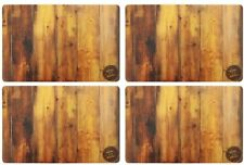 SET OF 4 KING OF THE GRILL PLACEMATS WOODEN DESIGN /TABLE MATS