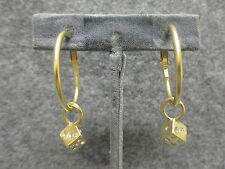 Satin Gold Finish Hoop Earrings w/ 6 Sided Lucky Dice Rhinestone Charm NEW