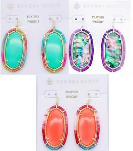 100% KENDRA SCOTT Threaded Elle Drop Earrings Coral Mint Illusion Lilac Abalone
