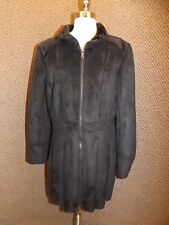 a.n.a. NEW NWT $250 Black Faux Shearling Suede Fur Fit & Flair Womens Coat XL