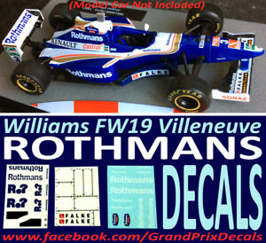 F1 Car Collection Williams FW19 ROTHMANS 1997 water slide DECALS 1:43 IXO