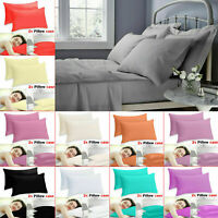 2x Pair Packs Pillow Case Luxury Fine Poly cotton Housewife Pillows Cover Cases