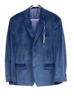 Michael Kors Kelson Mens Suit Jacket Blue Size 44 Short Velvet Two Button $295