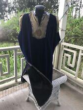 Deep Royal Blue Velvet Long Medival Tunic #0308 W / Turban, Pants