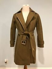 JCrew $378 Petite Belted Zip Trench Coat in Wool Melton 0P Heather Olive