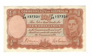 Australia -  Ten (10) Shillings 1939 LAST PREFIX