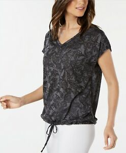 Ideology Womens Black Tie Front Drawstring Printed V-Neck T-Shirt Top Size M $29