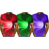 Funny 3D-Geometric Print T-Shirt Men Women Graphic Casual Short-Sleeve Tee Tops