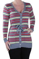 Womens Striped V Neck Long Sleeve Belted Fine Knit Cardi Knitted Ladies Cardigan