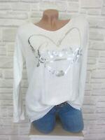 NEU Leichter Feinstrick Shirt Pulli Pullover Print 38 40 42 Weiß P145