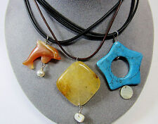 STERLING SILVER 3 Piece Lot Cord Necklace Stone Pendants Carnelian Star Dolphin