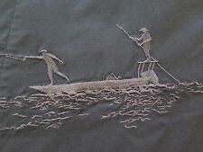 Columbia River Lodge Short Sleeve Embroidered Boat Fishing Loop Camp Shirt Small