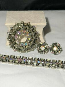 D&E Juliana Smoky Glass Aurora Borealis Rhinestone Silvertone Vintage SET