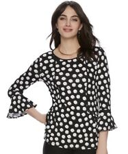 NWT ELLE $40 Daisy Floral Peplum Bell Sleeves Soft Jersey Knit Top Size Large
