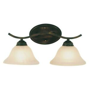 Trans Globe Lighting 2-Light Rubbed Oil Bronze Bath Bar Light, Marbleized Shade