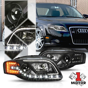 Black Projector Headlight White DRL Amber LED Signal for 05-08 Audi S4/A4 B7