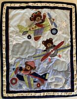 VTG Lambs And Ivy 3D Teddy Bear & Planes Baby Crib Blanket  Quilt Wall Hanging