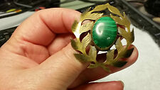 "Beautiful, ""Vintage Hand Soldered 'Malachite Gold Leaf Brooch with Green Stone"