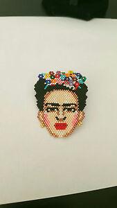 Hand Stranded Beaded Frida Kahlo Handmade Brooch Miyuki Beads Gift Fine Art