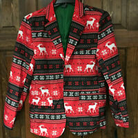 HOLIDAY PARTY Men's Small Christmas Blazer (Reindeer & Snowflake Pattern) / New