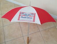 "Budweiser Anheuser Busch Beer  Wood Handle Umbrella 35"" red & white Vintage"