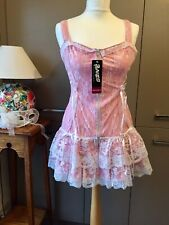 Lacey Corset Zip Front Dress Lolita Pink PVC Under Layer Glamorous Lingerie New