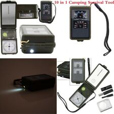 10 in 1 Camping Survival Tool Compass Fire Starter LED Hygrometer Magnifier