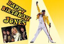 Queen rock band Freddie Mercury PERSONALISED Happy Birthday Greeting ART Card