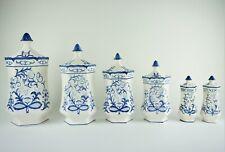 Six Piece Canister Set Salt & Pepper Shakers, Blue White Ceramic Tea Sugar Jars