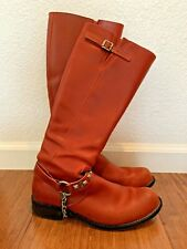 Rare John Fluevog Women's Red Boots With Removable Studs and Chain - Size 9