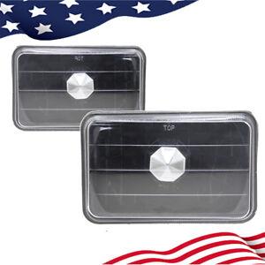 "Pair 4"" Inch 4x6 Clear Glass Lens Black Housing Semi Sealed Beam Headlight"