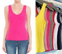 Women's Basic Tank Tops Soft Stretch Cotton Knit Ribbed Lace Trim Sleeveless