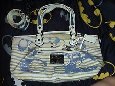 ☇ SALE RARE Coach Poppy Nautical Striped Rocker Crossbody Handbag Purse Sequins