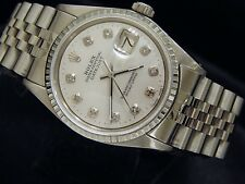 Rolex Datejust Mens Stainless Steel Jubilee Watch White MOP Diamond Dial 1603