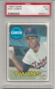 1969 TOPPS #510 ROD CAREW, PSA 7 NM, HOF, MINNESOTA TWINS, L@@K