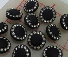 "144 vintage Czech buttons matte black glass shank rhinestone 458 1/2"" 13mm"