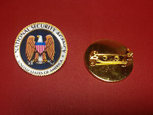 UNITED STATES `NATIONAL SECURITY AGENCY `  Gold Plated Badge +  N.S.A. STICKER