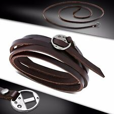 "43"" Genuine Brown Leather Multi Wrap Bracelet with Metal Clasp"