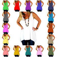 RSVH WHT Womens Hanky Top Summer Gathered Ladies Plus Size Vest Hem Flared Dress