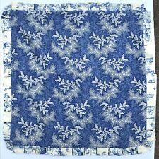 2 Handmade Blue & White Linen Euro Ruffled Pillow Shams Toile Cottage Romantic