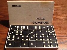 Vintage Dominoes BLACK Bakelite in box Marblelite