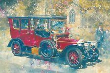 RARE PETER MILLER Red vintage car wedding Latvian modern postcard