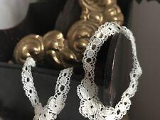 19C Antique White Cuffs Bobbin Tape Lace French Period Costume Vintage Wedding
